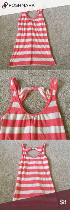 Striped Summer Tank Coral/off-white striped tank top with bow detail on back, in excellent condition. Make me an offer ☺ Charlotte Russe Tops Tank Tops