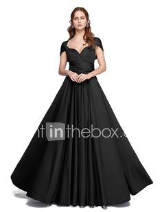 Lanting Bride® Longo Microfibra Jersey Vestido Convertível Vestido de Madrinha - Linha A Mula Manca / Tomara que Caia / Decote VTamanhos de 633753 2017 por €78.39