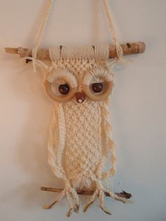 Cutest 70s Macrame Owl Wall Hanging. Funky by DragonflyGypsySoul