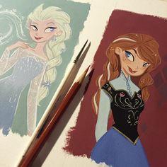 Elsa and Anna #frozen #disney #fanart