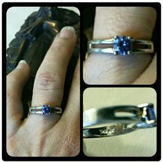 VINTAGE Silver & Iolite Ring FINAL PRICE This vintage ring is in excellent condition. It has a partial double band set with a beautiful lavender blue faceted iolite. Sparkly and dainty Vintage Jewelry Rings