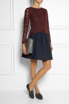 Carven|Lace and cotton top|NET-A-PORTER.COM