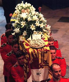 The coffin of Diana, Princess of Wales, leaves Westminster Abbey after the funeral service on September 6th, 1997