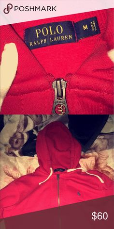 Ralph Lauren red polo hoodie medium I'm selling this red Ralph Lauren jacket medium sized just don't really wear it anymore. Polo by Ralph Lauren Sweaters Zip Up