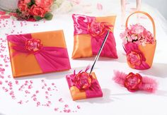 Hot Pink & Orange Collection www.carlsbadweddingsupplies.com