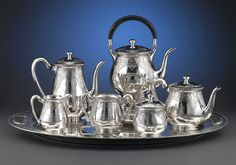 This sterling silver tea and coffee service by the Eleder- Hickok Company is truly breathtaking, Hallmared 1920 ~ M.S. Rau Antiques