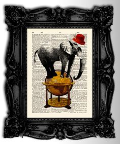 Elephant Professor - Original animals artwork mixed media dictionary print on antique french dictionary page - Vintage art print via Etsy