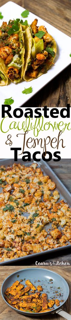 These Roasted Cauliflower + Tempeh Tacos are so incredibly flavorful!! The cauliflower is roasted until it's nice + crispy and the tempeh is perfectly marinated. Stuffed with homemade guacamole and salsa. #tacos  #meatlessmonday #mexicanfood #vegan #glutenfree