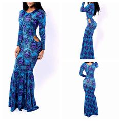 AUTUMN NEW WOMEN BLUE PRINT BODYCON CELEBRITY BANDAGE LONG FASHION SEXY HOLLOW OUT DOVETAIL PARTY CLUB DRESS