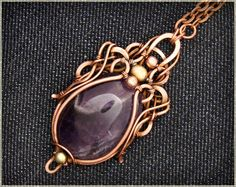 Amethyst stone pendant necklace, wire wrapped jewelry handmade, purple, copper necklace. $130.00, via Etsy. Wirecolibri