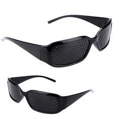 dd3aa99c65b0 Hot Black Unisex Vision Care Pin hole Eyeglasses pinhole Glasses Eye  Exercise Eyesight Improve Plastic Natural