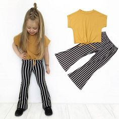 Velvet passion σετάκι φόρμας με ρίγα | My Little One Striped Leggings Outfit, Leggings Are Not Pants, Striped Pants, Bell Bottom Pants, Bell Bottoms, Little Baby Girl, Crop Top Shirts, Yellow Top, Loose Tops