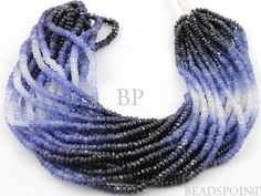 Natural AAA Quality Shaded Blue Sapphire Gemstones, Light to Dark Color, Micro Faceted Rondelle, 2.5 to 3mm, 1 Full Strand (SPHMICFRNDL(BMU)