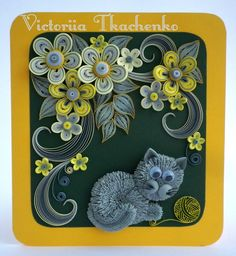 Quilled greeting Card - Anniversary quilling Card - Birthday card - Stylized flowers - Cute cat playing with ball of yarn