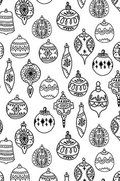 ornaments // black and white by andrea_lauren - Hand drawn holiday ornaments in black and white on fabric, wallpaper, and gift wrap. Ornament illustration by indie designer Andrea Lauren. Christmas Doodles, Christmas Art, Christmas Tree Ornaments, Simple Christmas, Christmas Holidays, Christmas Tree Drawing Easy, Yard Ornaments, Christmas Patterns, Christmas Design