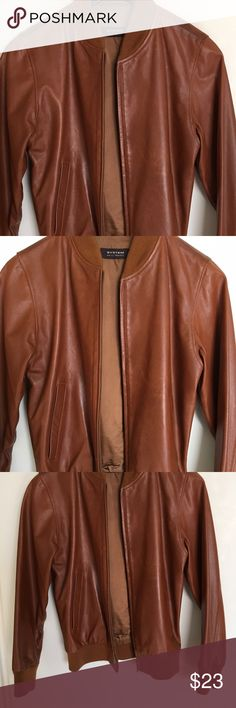 Faux Leather Coffee Jacket Coffee Leather City Bomber Jacket Long sleeve fully lined leather brown Bomber jacket with zippered front. Fits sizes SM. Mixed fabric and leather combination #newyorkchic #streetwear #frenchsportswear jacket is in good  condition Protection System Jackets & Coats Utility Jackets