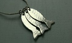 Silver Fish Necklace Hammered Fish Nautical by SunshineOnWater