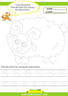 Kids Under 7: Alphabet worksheets.Trace and Print Letter S