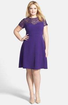 Adrianna Papell Fit & Flare Dress with Illusion Lace (Plus Size) available at #Nordstrom