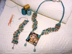 Braccialetto e collana Frida tecnica macramè classico.