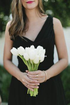 White Tulip Bridesmaid Bouquet