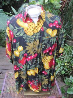 HAWAIIAN Aloha SHIRT L pit to pit 25 BURMA BIBAS rayon tropical fruit pineapple  #BurmaBibas #Hawaiian