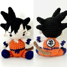 Goku from Dragon Ball Z amigurumi Crochet Geek, Crochet Crafts, Crochet Dolls, Knit Crochet, Amigurumi Doll, Amigurumi Patterns, Knitting Patterns, Crochet Patterns, Diy Sewing Projects