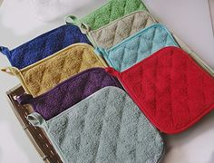 These pot holders are the perfect accessory for your baking and cooking needs. This heavyweight institutional grade terry cloth potholder is made of 100-percent cotton and are machine washable. These holders measure 7 x 7 inches and feature a convenient loop for hooking storage. Set includes 5 potholders measure 7 inch long by 7 inch