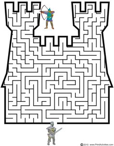 Castle shaped maze from PrintActivities.com