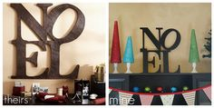 DIY christmas noel  Potterybarn= $149  DIY= $4-10  Great mantle Decor
