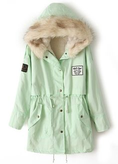 Mint Green Fur Hooded Zipper Embellished Fleece Inside Military Coat