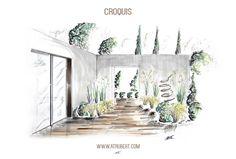Dessin Perspective -  Croquis Paysage  Artiste : Alexandre Trubert A.T.ELIER 16 design Architecte d'intérieur designer www.atrubert.com