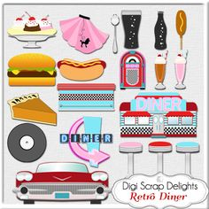 Retro 1950s Diner in Red Aqua Turquoise by DigiScrapDelights