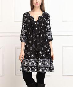 Black & White Bubble Pin Tuck Notch Neck Dress