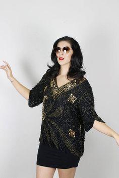 eb51fb80bad Black Gold Sequin Top. Disco Shirt. Disco Blouse. 70s Sequin top. Black Gold