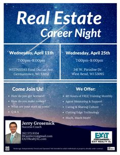 See you tonight at EXIT Realty XL in Germantown! Join us at 7pm to learn if you have what it takes to become a successful Real Estate Agent. Call to rsvp or just show up 262-573-9334 Check us out in the meantime: https://www.exitrealtyxl.com/real-estate-careers/ #ExitRealtyXL #CareerNight #RealEstateCareer #FreeRealEstateTraining #RealEstateMentor #FreeSeminar