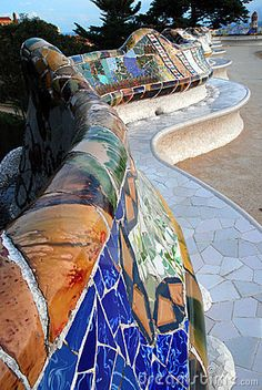 Gaudi's famous mosaic benches at Park Guell