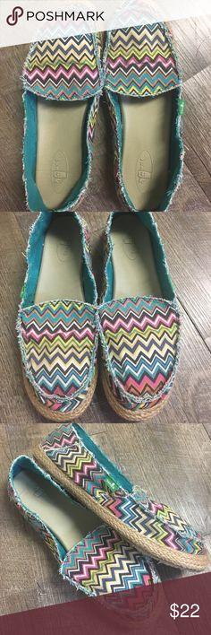 Sanuk slip on shoes Sanuk women's multi colored slip on shoes. Size 8. Sanuk Shoes