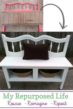 How to make a headboard entryway bench using reclaimed materials. It's surprising how similar in size the kitchen cabinet and the headboard were. It made it relatively easy to marry the two pieces to make a fun bench! #MyRepurposedLife #repurposed #furniture #entryway #bench #headboard