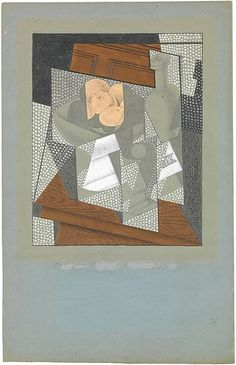 The Fruit Bowl Juan Gris (Spanish, Madrid Boulogne-sur-Seine) Date: Paris, Medium: Graphite, wax crayon, and gouache on blue wove paper-faced paperboard Dimensions: 10 × 8 in. via Met Spanish Painters, Spanish Artists, Modern Art, Contemporary Art, Still Life Artists, Sonia Delaunay, Cubism Art, Art Deco, Georges Braque
