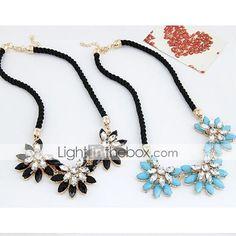 Fashionla Hot Selling Sweet Gem Sun Flower Leather Necklace - USD $ 3.70
