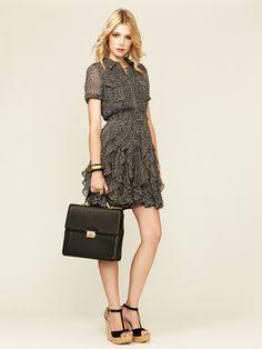 Joplin Silk Ruffle Shirt Dress by Rachel Zoe in black multi