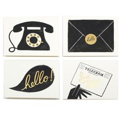 """Don't wave goodbye to the days of a personal, handwritten note! Send one of these vintage-inspired hellos instead. Dimensions: Measures 4.25"""" x 5.5"""" Details: Set of 8 cards. 2 of each design. Rifle Pa"""