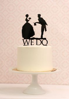 Wedding Cake Topper with Silhouettes  We Do  от Silhouetteweddings, $45.00