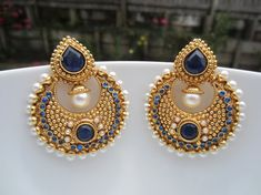 Navy Blue Stone and Pearl Chandbalis Indian Jewelry by Alankaar, $26.00