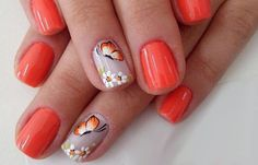 Diseños de uñas a la moda actual, diseño de uñas a la moda naranja.  Follow! #uñasdecoradas #decoratednails #uñassencillas