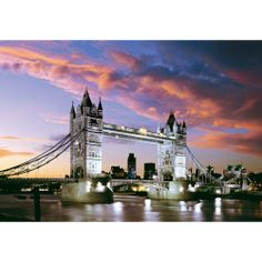 The magnificent Tower Bridge in London is a combined bascule and suspension bridge which stretches over the River Thames. This sunset scene truly makes for a phenomenal puzzle. Monuments, Diamond Drawing, Tower Bridge London, London Tours, Over The River, Suspension Bridge, Countries Around The World, River Thames, Cross Paintings