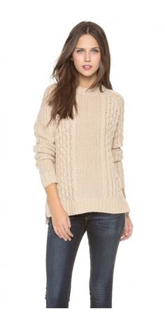 INNIS SWEATER - $79.25  A cable-knit Theory sweater with a banded crew neckline. Uneven hem. Long sleeves.