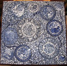 Blue and white mosaic table. Blue broken china