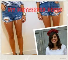 How to distress your own denim shorts with tips from DIY Blogger Geneva Vanderzeil of a Pair and a Spare!